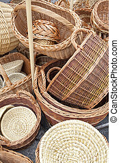 Wicker baskets and boxes on outdoor market stall