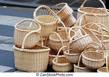 Wicker baskets for sale in market