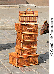 Wicker baskets - Hand made wicker products at the street...