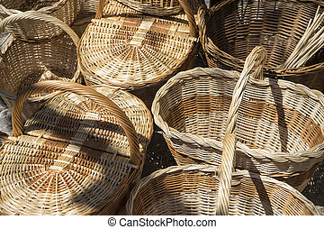 wicker baskets handmade in a traditional medieval shop, crafts in Spain