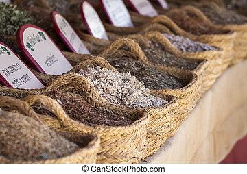 wicker baskets stuffed medicinal healing herbs