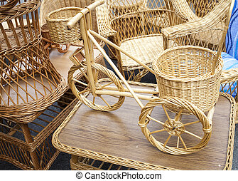 Wicker bicycle and furniture