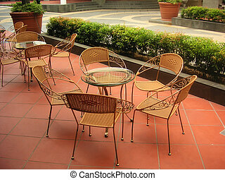 wicker cafe - Cafe with traditional wicker chairs