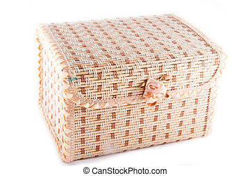 wicker chest isolated on white background