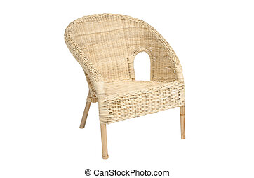 Wicker comfortable armchair isolated