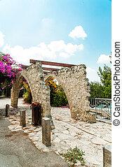 wicker, dorp, rozen, kunstenaars, bloemen, gazebo