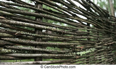 Wicker fence in the village