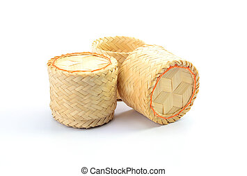 wicker for rice on white background