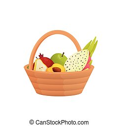 Wicker fruit basket with comfortable handle isolated on white background