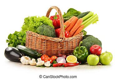 wicker, groentes, vrijstaand, rauwe, mand, witte