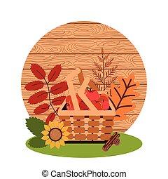 wicker kosár, alma, ősz