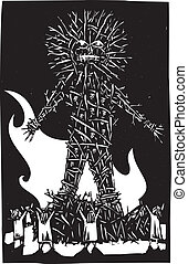 Wicker Man - Woodcut style expressionist image of pagan...