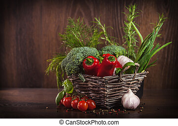 wicker mand, volle, van, gezond voedsel