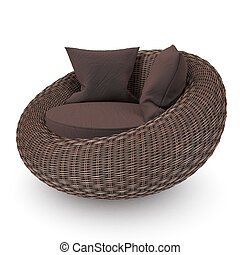 Wicker rattan chair - Rattan chair right view with soft ...