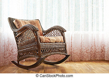 Wicker rocking chair composition - Brown wicker rocking...