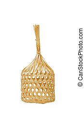 Wicker round bamboo basket isolated on white.
