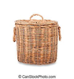 Wicker trash basket on white background