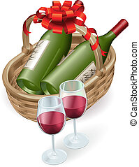 Illustration of wicker wine basket with red wine bottle and glasses and decoration ribbon and bow.