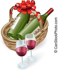 Wicker wine basket - Illustration of wicker wine basket with...