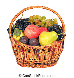 Wicker with fruits, isolated on white