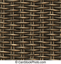 wicker work pattern - seamless 3d texture of brown...