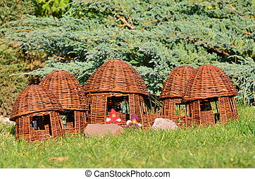 Wickerwork - a village of elves - The picture shows a garden...