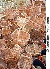 Wickerwork baskets - Full frame take of a heap of wickerwork...