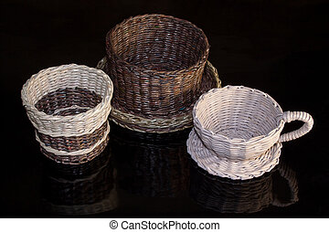 Wickerwork isolated on a black background.