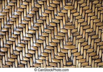 Wickerwork patterns - Beautiful old woven wood pattern close...