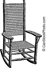 Wickerwork rocking chair engraving - Engraving of an old...