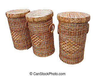 Wickerwork wood baskets isolated over white background