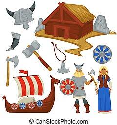 wickinger, frau, waffe, kultur, schiff, geschichte, mann