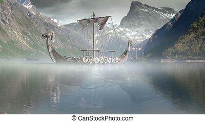 wickinger, fu, schiffe, nordisch, meer, episch