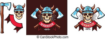wickinger, krieger, totenschädel, helm, äxte, gekreuzt, schlacht, logo