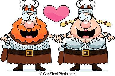 wickinger, paar, karikatur