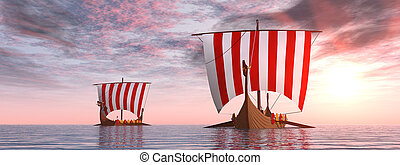 wickinger, schiffe, an, sonnenaufgang