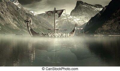 wickinger, schiffe, auf, nordisch, meer, episch, fu