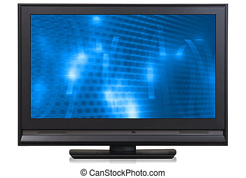 Wide (16:9), HD LCD television set (with clipping path and screen). You can easily change the picture on the screen.