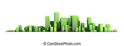 wide 3D cityscape model in shiny green/yellowish  with a white background - buildings are casting no shadows