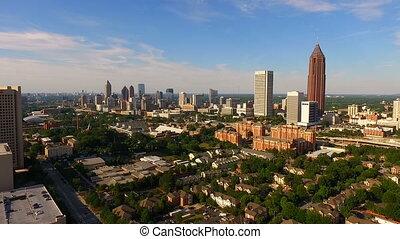 Wide Aerial Atlanta Georgia Rush Hour Traffic Downtown City Skyline