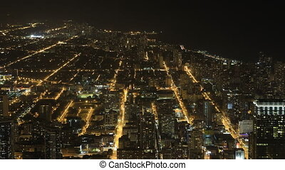 Wide aerial view at night in Chicago