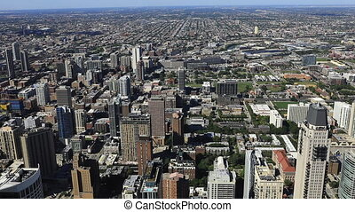 Wide aerial view of Chicago