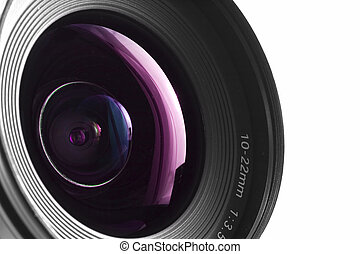 Wide angle - A close-up of a wide angle camera lens