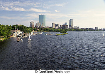 wide angle boston - wide angle View of the boston skyline...