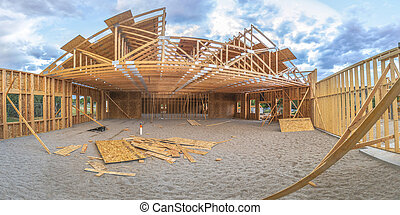 Wide angle building under construction square