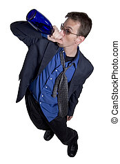 Wide-angle business - Businessman drinking