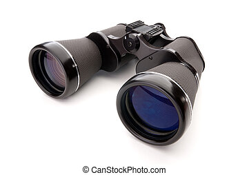 Wide angle close up of binoculars on a white background