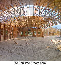 Wide angle interior building construction square