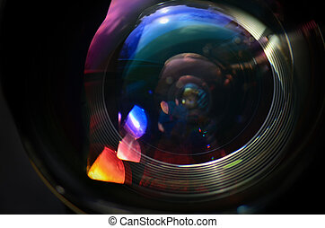 Wide angle lens close up image with light reflexions. Macro image.