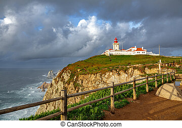 Wide angle of Cabo da Roca Lighthouse, the end of Europe -...